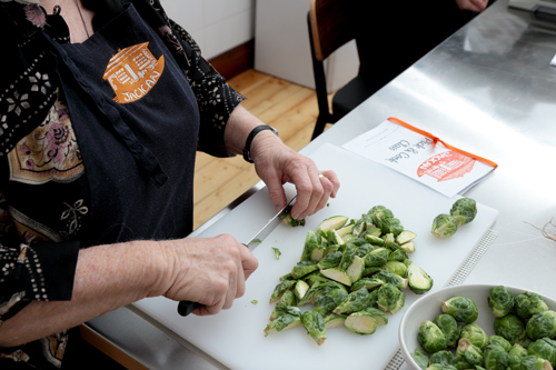 chopped brussel sprouts into halves for lunch at Jacican