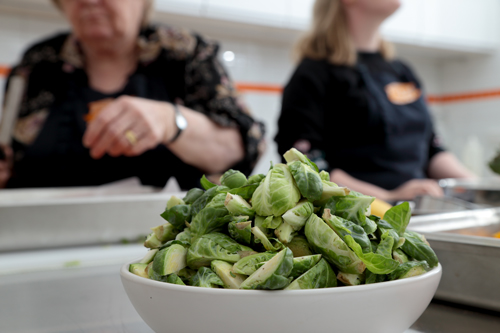 chopped brussel sprouts waiting for your lunch at Jacican